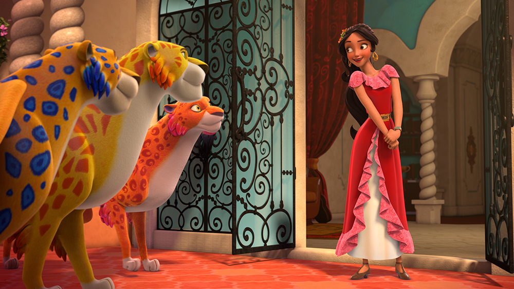 "ELENA OF AVALOR - ""First Day of Rule"" - ""First Day of Rule"" - Elena officially becomes crown princess and rescues her sister, Isabel, from Noblins, elf-like shapeshifting creatures based on a Chilean peuchen myth. (Disney Channel) SKYLAR, MIGS, LUNA, ELENA"